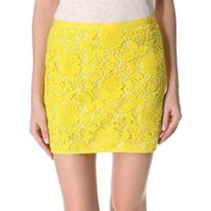 MADEWELL Yellow Flower Lace Skirt Size 4